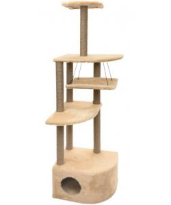 """Комплекс-когтеточка """"Башня угловая"""" с гамаком, 48*48*h171 см, джут, бежевый"""