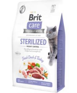 Гипоаллергенный беззерновой корм для стерилизованных кошек Контроль веса, с уткой и индейкой Care Cat GF Sterilized Weight Control