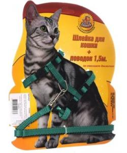 Шлейка с поводком 1,5м для кошек зеленая