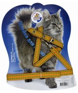 Шлейка-стропа с поводком 1,5м для кошек оранжево-зеленая