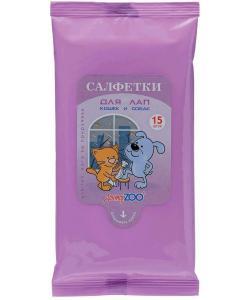 Влажные салфетки для лап собак и кошек, 15 шт.