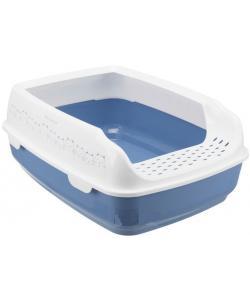 """Кошачий туалет """"Delio"""" с бортиком 38*50*20 см, синий /серый (40391)"""