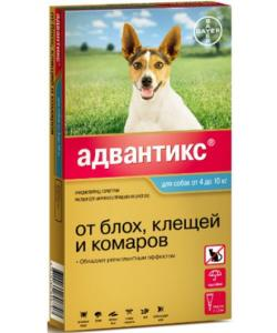 Адвантикс Капли для собак 4-10кг от блох, клещей, 1 пипетка 1мл