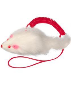 """Игрушка для кошек """"Мышь на пружине"""", 7см, натуральный мех"""