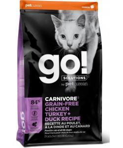 Беззерновой для котят и кошек - 4 вида мяса: курица, индейка, утка и лосось (GO! CARNIVORE GF Chicken, Turkey + Duck Recipe CF)