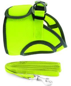 Комплект: поводок и шлейка-жилетка, обхват груди 35 см,  неоново-желтый (HL028S)
