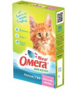 """Омега Neo +  Мультивитаминное лакомство для котят """"Веселый малыш"""" с пребиотиком и таурином, 60 таб."""