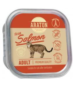 Безглютеновые консервы для стерилизованных кошек с лососем (Araton adult cat with salmon suitable for sterilised )