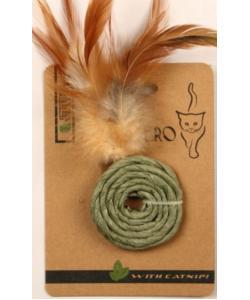 """ЭКО игрушка """"КОЛЕЧКО """" с перьями и кошачьей мятой, 5 см зеленое"""