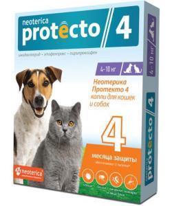 Neoterica Protecto Капли от блох и клещей для кошек и собак 4-10 кг, 2 шт.