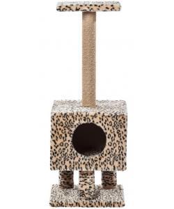 Домик для кошек меховой «Квадратный на ножках» 37*37*99 см, джут