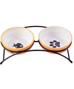 Миски на подставке для собак и кошек двойные, оранжевые 2x290 мл