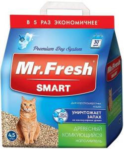 Наполнитель древесный комкующийся для короткошерстных кошек 4,5л
