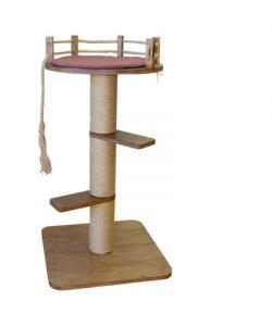 Когтеточка столбик с лежанкой  и ступеньками Шоколад для кошек