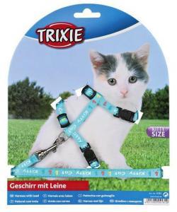 Шлейка с поводком для котят, нейлон 21/32см, 8мм.(4181)