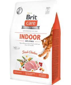 Гипоаллергенный корм для взрослых домашних кошек Антистресс с курицей Care Cat GF Indoor Anti-stresst