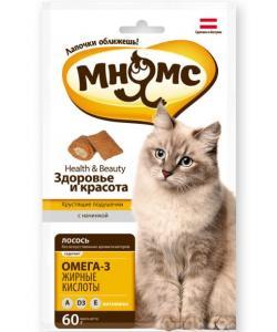 """Хрустящие подушечки для кошек с лососем """"Здоровье и красота"""""""