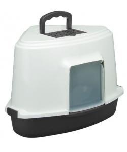 Туалет LB03 для кошек закрытый угловой (совок в комплекте), темно-серый, 56,5*42,5*40см