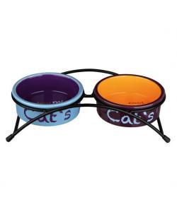 Миски керамические на подставке, 2х0,3л, 12 см (голубой,оранжевый,фиолетовый)24791