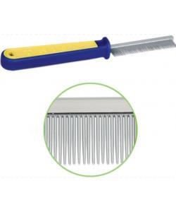 Расческа с МЕЛКИМ зубом, сине-желтая ручка 19,5 см (310)