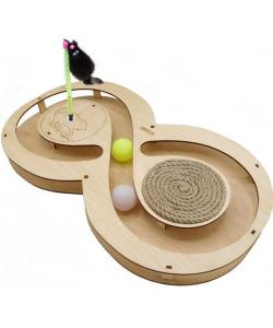 Игрушка для кошек развивающая Восьмерка с шарикамии, когтеточкой из каната и игрушкой на пружине, 49*27*3,6 см