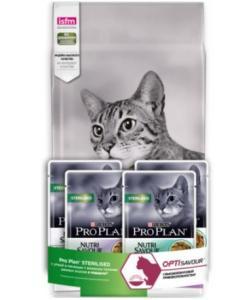 Промо-набор 1,5кг+4 пауча в подарок Сухой корм для Кастрированных кошек Утка и печень (Sterilized Duck)