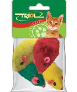 """Игрушка для кошек """"Мышь цветная"""", 4,5-5см, 4шт. (M002NC)"""