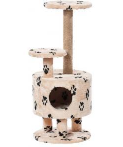 Домик для кошек меховой «Круглый со ступенькой на ножках» 42*99 см, джут