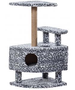 Домик для кошек меховой «Угловой со ступенькой на ножках» 57*42*99 см, джут