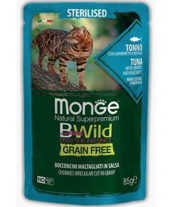 Cat BWild GRAIN FREE паучи из тунца с креветками и овощами для стерилизованных кошек