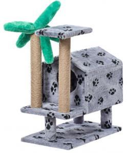 Домик для кошек меховой «Тропический на ножках» 62*37*73 см, джут