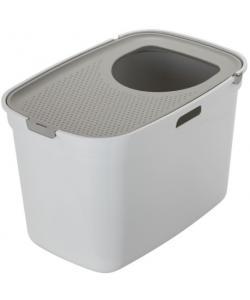 Закрытый туалет для кошек Top cat, белый с теплым серым, 59x39x38 см