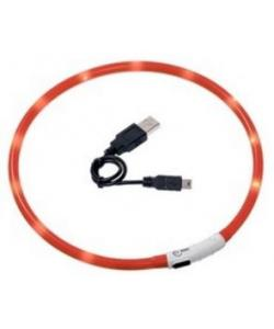 Ошейник с LED подсветкой, USB зарядкой 20-35 см,  оранжевый