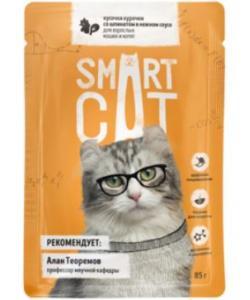 Паучи для взрослых кошек и котят кусочки курочки со шпинатом в нежном соусе