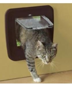 Дверца для кошек 4 позиции, клапан 17 х 17,5 см, коричневая S3602