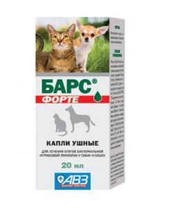 Барс Форте Капли ушные для кошек и собак от отита, микоза